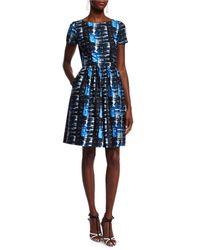 Oscar de la Renta - Blue Short-sleeve Plaid-print Dress - Lyst