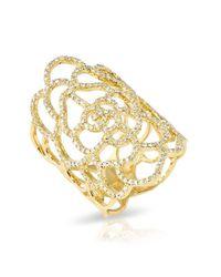 Anne Sisteron - Metallic 14kt Yellow Gold Diamond Camellia Flower Ring - Lyst