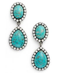 DANNIJO | Blue 'cash' Drop Earrings - Turquoise/ Silver | Lyst