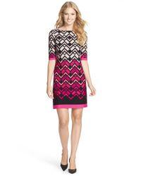 Eliza J - Black Print Jersey Shift Dress - Lyst