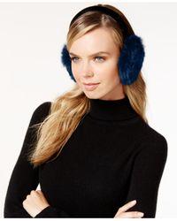 Surell | Blue Velvet Band Rabbit Fur Earmuffs | Lyst