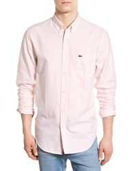 Lacoste - Pink Regular Fit Bengal Stripe Oxford Woven Shirt for Men - Lyst