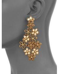 Oscar de la Renta - White Swarovski Crystal Flower Clipon Earrings - Lyst