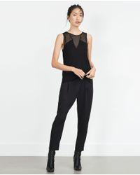 Zara   Black Sheer Top   Lyst