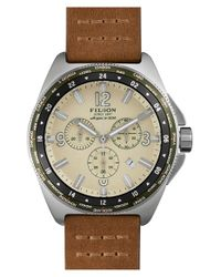 Filson - Brown 'the Journeyman' Chronograph Gmt Leather Strap Watch for Men - Lyst