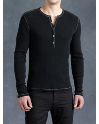John Varvatos | Black Cotton Waffle Henley for Men | Lyst