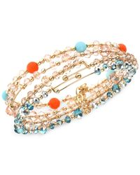 Jones New York | Blue Gold-tone Multi-color Bead Stretch Bracelet | Lyst