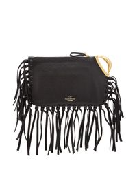 Valentino | Valentino Scarab Fringed Leather Clutch - Black | Lyst