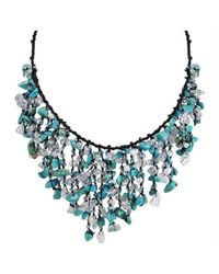 Aeravida | Blue Cotton Turquoise Waterfall Cluster Necklace | Lyst