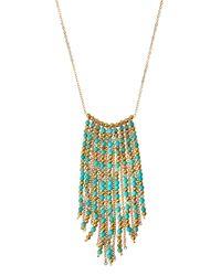 Panacea - Blue Mixed Bead Fringe Necklace Turquoise - Lyst