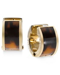 Michael Kors | Brown Gold-Tone Tortoise Huggie Earrings | Lyst