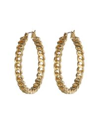 Lauren by Ralph Lauren - Metallic Bar Harbor Large Frozen Chain Clickit Hoop Earrings - Lyst