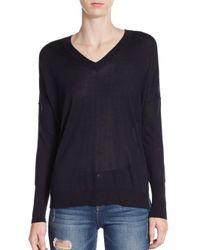 VINCE | Blue Silk & Cashmere Double V-neck Sweater | Lyst