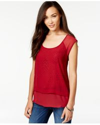 DKNY | Red Studded Scoop-neck Top | Lyst