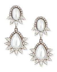 DANNIJO | White Penelope Simulated Pearl & Crystal Drop Earrings | Lyst