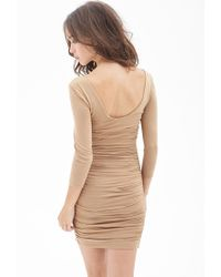 Forever 21 | Natural Marled Lace-up Dress | Lyst
