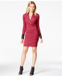 Guess - Red Faux-leather-detail Zipper Wrap Dress - Lyst