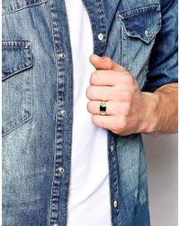 ASOS | Black Gold Plated Signet Ring for Men | Lyst