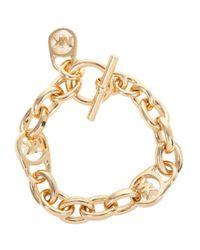 Michael Kors | Metallic Gold Tone Charm Bracelet | Lyst