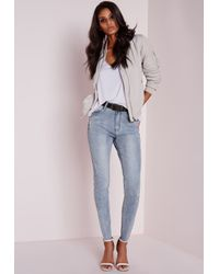 Missguided - Sinner High Waisted Ripped Skinny Jeans Washed Blue - Lyst