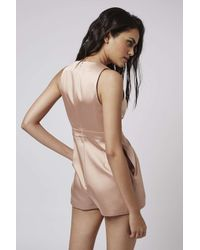 TOPSHOP - Pink Petite Satin Plunge Playsuit - Lyst