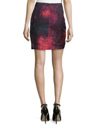 Halston - Black Pleated Faux-Wrap Skirt - Lyst