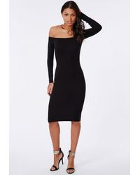 Missguided Long Sleeve Jersey Bardot Bodycon Midi Dress Black in ... 680cb91c7