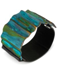 Robert Lee Morris - Blue Sculptural Patina Leather Bracelet - Lyst