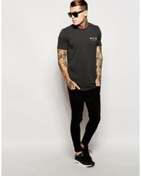 Nicce London - Black T-shirt In Boucle With Curved Hem for Men - Lyst