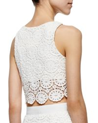 Miguelina - White Rosi Floral-lace Crop Top - Lyst