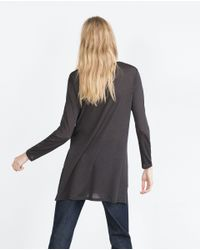 Zara | Gray Flowing T-shirt | Lyst