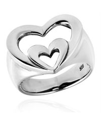 Aeravida | Metallic Vow Of Love Double Heart .925 Sterling Silver Ring | Lyst
