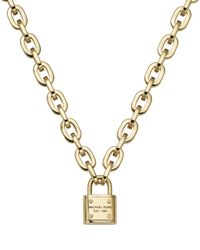 "Michael Kors - Metallic Chain Link Padlock Toggle Necklace, 16"" - Lyst"