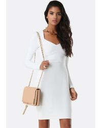 Bebe - White Mila Inset Waist Dress - Lyst