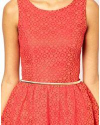Little Mistress - Orange Lace Dress - Lyst