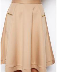 ASOS | Brown Midi Skirt in Scuba with Zips | Lyst