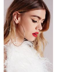 Missguided - Metallic Rose Gold Matte Hoop Earrings - Lyst