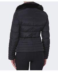 Armani Jeans | Black Fur Trim Puffa Jacket | Lyst