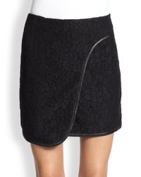 Rebecca Taylor - Black Leather Trimmed Lace Wrap Skirt - Lyst