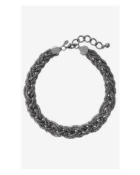 Express - Metallic Braided Mesh Necklace - Lyst