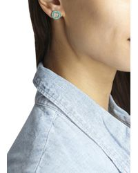 Michael Kors - Blue Gold Tone Pavé Crystal Studd Earrings - Lyst