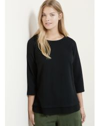 Violeta by Mango - Black Textured Cotton-blend Sweatshirt - Lyst