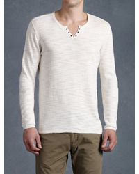 John Varvatos | White Eyelet Placket Sweater for Men | Lyst