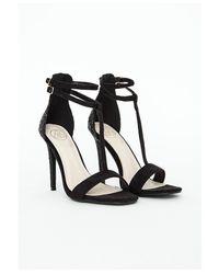 Missguided - Pamela Black Glitter Heel Sandals - Lyst