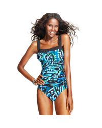 INC International Concepts - Blue Printed Ruched Onepiece Swimsuit - Lyst