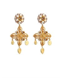 Dolce & Gabbana | Metallic Rose And Charm Embellished Earrings | Lyst