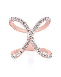 Anne Sisteron - Pink 14kt Rose Gold Diamond Curved X Ring - Lyst