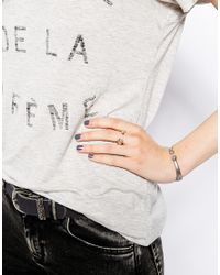 French Connection - Metallic Single Stone Cuff Ring - Lyst