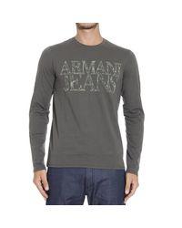 Armani Jeans - Gray T-shirt Long Sleeve Logo for Men - Lyst