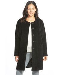 Eileen Fisher | Black Wool & Alpaca Blend Collarless Coat | Lyst
